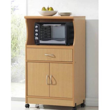 Microwave Stand, Can be Used Both as a Cabinet Space as Well as Microwave Storage, Provides Compact Kitchen Storage for a Wide Range of Items, Beege + Expert Guide