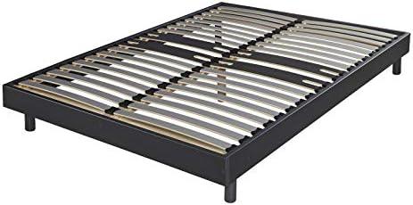 Decokit - Conjunto de somier de láminas (2 x 21) y juego de patas, 160 x 200 cm, color negro