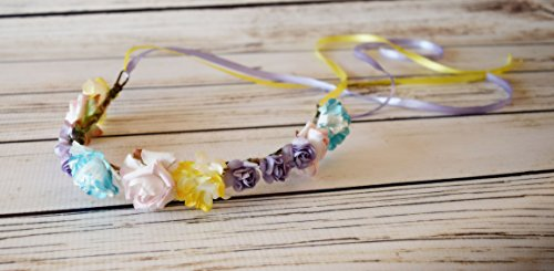 Handcrafted Easter Flower Crown - Yellow Lavender Light Pink and Turquoise Blue Flower Halo - Spring Flower Halo - Easter Headband - Toddler