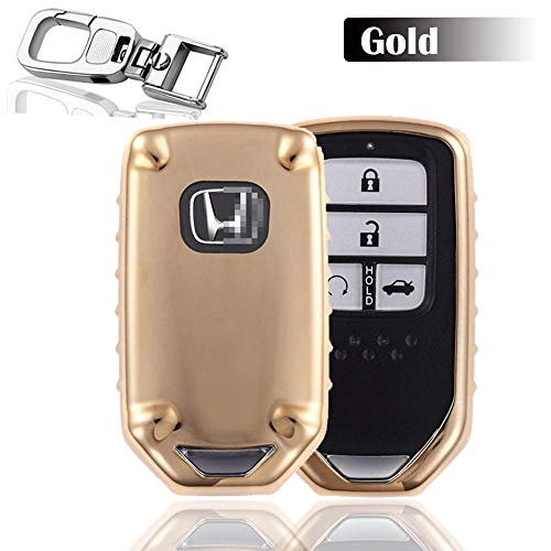 Gold Accord (QBUC Car Keyless Replacement Shell Electronic Cover With Extra Key Holder Hook for Honda (Gold))