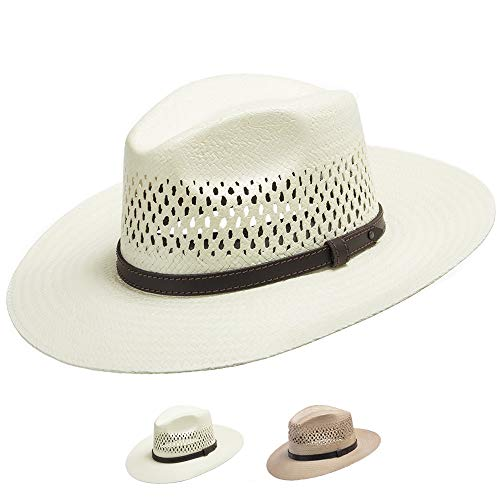 Ultrafino Stetson Digger Vented Straw Outback Hat Natural 7 1/4 ()