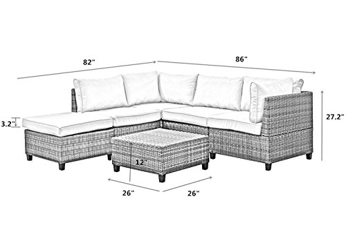 Tampa 6 Piece Outdoor Rattan Wicker Sofa Sectional Sets Perfect Patio Deck