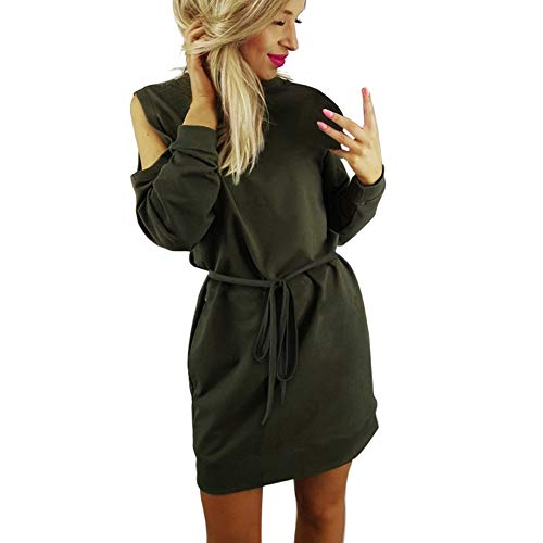 HITRAS Dress!Fashion Womens Holiday Long Sleeve Casual Dress- Ladies Cold Shoulder Party Mini Dress