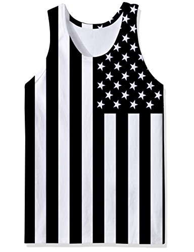 - Freshhoodies Tank Tops for Men Funny Beach Novelty USA Flag Sleeveless Graphic Tee Shirts All-Over Print Black Undershirts Dry Fit Athletic Bodybuilding Sports Tank Shirts for Dad, Large