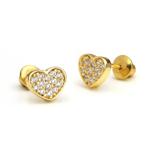 14k Gold Plated Brass Heart Cubic Zirconia Screwback Baby Girls Earrings with Sterling Silver Post