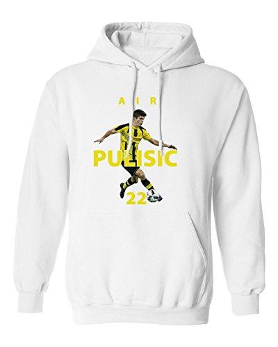 "SMARTZONE Borussia Dortmund Christian Pulisic ""Air Pulisic"" Men's Hoodie Sweatshirt (White,S)"