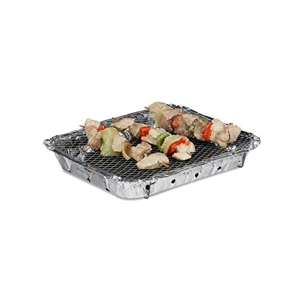 Relaxdays, Argento Griglia Monouso, Instant Barbecue, 2 Piedini, 500 g di Carbonella Inclusi, BBQ con Accensione… 1 spesavip