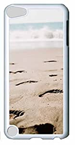 Fashion Customized Case for iPod Touch 5 Cool White Plastic Case Back Cover for iPod Touch 5th with Footprints Kimberly Kurzendoerfer