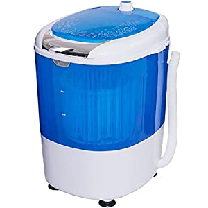 COSTWAY Portable Mini Washing Machine Compact 5.5lbs Counter Top Washer w/Spin Cycle Basket (Blue)