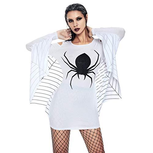Clearance!Youngh Womens Halloween Dress Spider Off Shoulder Uniform Bat Sheath Above Knee Sexy Mini Dress Blouse T Shirt Tops