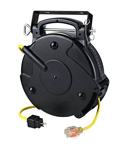 Alert Stamping 8665TFS Heavy Duty 12/3 65 Foot Single Tap Industrial Retractable Extension Cord Reel ()