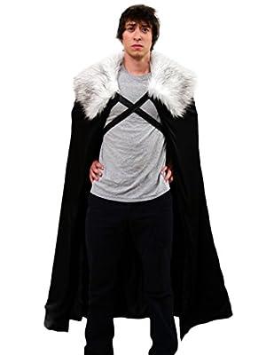 Game of Thrones Costume Jon Snow Night's Cosplay Cloak GoT Adult Mens Costume