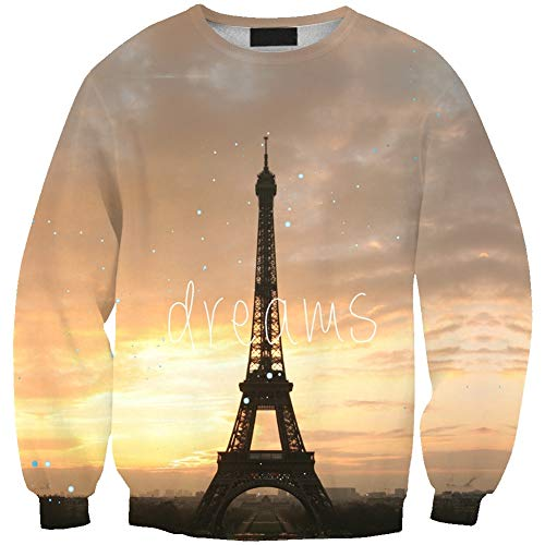 (Girl's Printed Eiffel Tower Hoody Crew Neck Pullover Long Sleeve Slim Fit One Size)
