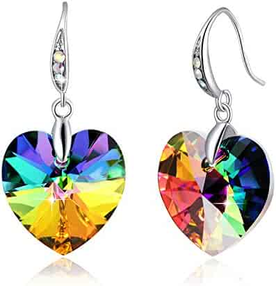 a660e20f3 ❤Crystals from Swarovski❤ Heart Earrings Color Changing Crystals Eternal  Love Heart Drop Dangle Earrings