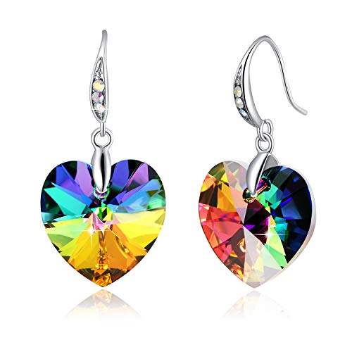(Swarovski Element Earrings Heart Earrings Color Changing Crystals Forever Love Drop Dangle Earrings for Girl, Birthday Birthstone Jewelry Gifts for Women, Rainbow Heart)