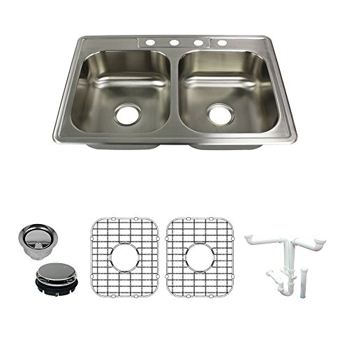 Transolid K-STDE33226-4 Select 4-Hole Drop-in 50/50 Double Bowl 22-Gauge Stainless Steel Kitchen Sink Kit 33-in x x 6-in, Brushed Finish