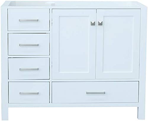 ARIEL 42 inch White Bathroom Vanity Base Cabinet with Right Offset Sink Configuration 2 Soft Closing Doors and 5 Full Extension Dovetail Drawers Satin Nickel Hardware 42 x 21.5 x 33.5