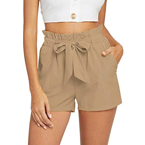 NEWFANGLE Women's Casual Paper Bag Shorts Elastic Tie Waist with Pocket Comfy Summer Shorts for Women,Khaki,XXL