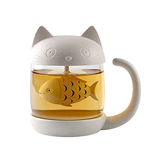Cute Cat Infuser Tea Mug with Built-In Fish Shaped Loose Leaf Infusion Filter Basket – 8.5oz Eco-Friendly Novelty Kitty Steeper Cup Accessories Gift Set for Animal - Shaped Cat Flowers