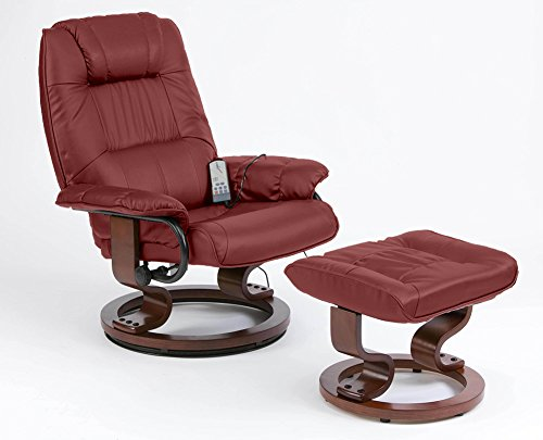 Napoli Heat and Massage Recliner Chair (Burgundy)