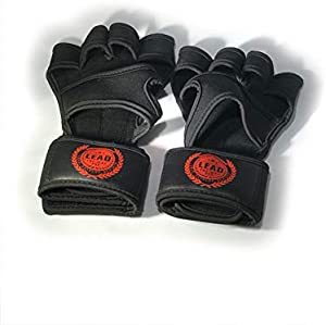 Weightlifting Half Gloves with Built-In Wrist Wraps, Full Palm Protection & Extra Grip. Open Fingers and Thumb. Use for Pull Ups, Barbell, Kettlebell, WODs, Weightlifting, and Cross Training (Small)