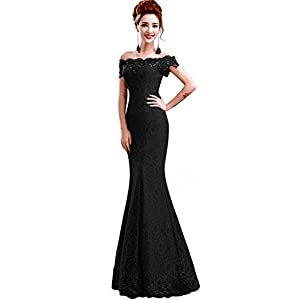 Babyonline Off Shoulder lace red Mermaid Evening Formal Bridesmaid Dress