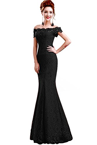 Babyonline 2016 off shoulder Black Mermaid Evening Formal Bridesmaid dress,Black,6