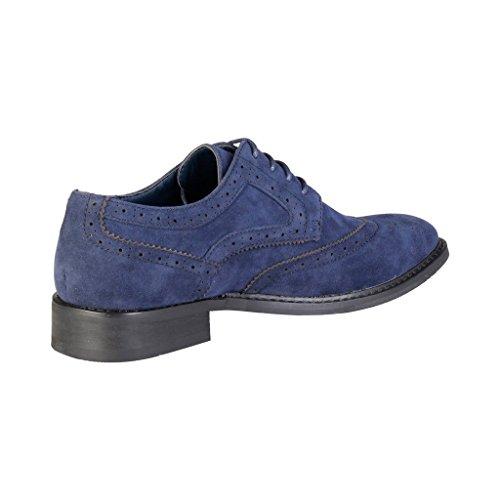 Pierre Cardin Herren GR5010 Leder Derby Schuhe in Brogue Blau