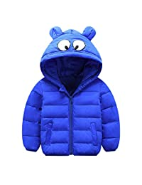 CQO❤Girls Boys Winter Warm Coat Jacket Thick Ears Hoodies Outerwear Clothes 1-5T