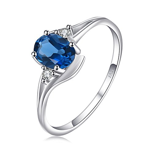 JewelryPalace Oval 0.9ct Natural London Blue Topaz Solitaire Engagement Ring 925 Sterling Silver Size 7 Blue Topaz Color Solitaire