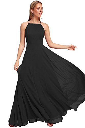 - Women's Halter Backless Floor Length Evening Prom Dress Chiffon Formal Gown Size 10 Black
