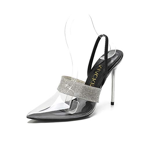 MACKIN J Sandals 188-5 Clear High Heel Pointed Toe Stiletto Heel Mule Summer Pump Shoes (8.5, - Rhinestone Clear Stiletto