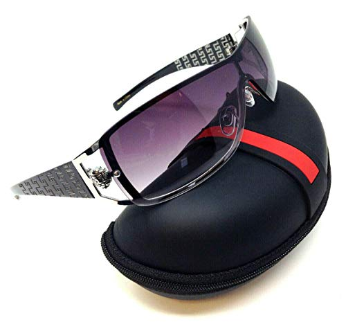 Kleo Lion Head Medallion Greek Key Wrap Around One Piece Sunglasses (Black & Silver Frame w/Case, Black Smoke)