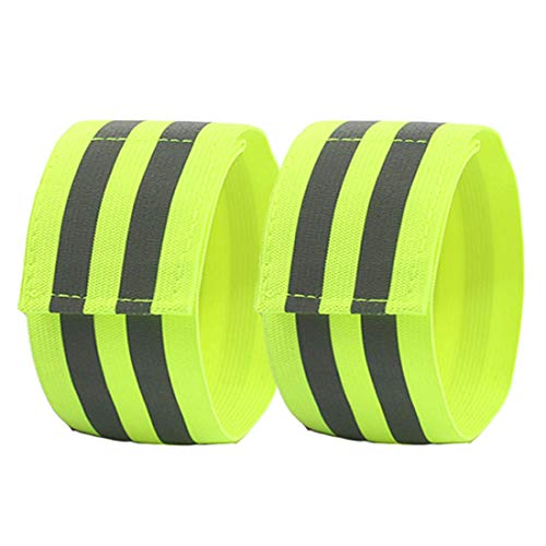 YUNYILAN Reflective Band for Wrist, Arm, Ankle, Leg. High Visibility Reflective Running Gear for Men and Women for Night Running Cycling Walking Bicycle. Safety Reflector Tape Straps (2 Pack)