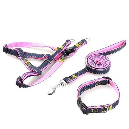 Denim Pet Dog Collar Harness Leash Set for Puppy Dog Cat, Adjustable Dog Harness Vest Collar Lead S/M/L/XL