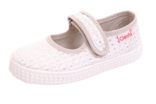 (Cienta Mary Jane Sneakers for Girls – Silver Casual Shoes with Adjustable Strap (24 M EU/7.5 M US Toddler))