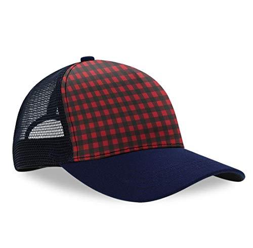 YongColer Men's Women Custom Rustic Red Black Buffalo Check Plaid Dad Cap, Fitted Trucker Hat, Dad Baseball Cap, Sports Mesh Peaked Hats, Breathable Moisture Wicking Snapback Cap Adjustable Strapback