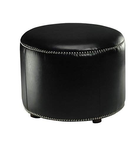 (Safavieh Hudson Collection Zachary Leather Round Nailhead Ottoman, Black)