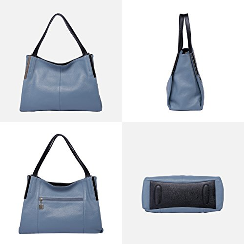 Black capacity Shoulder Handle Designer Light Women Leather Blue Soft Large Top Bags BOYATU 64Bv0