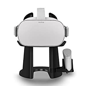 AFAITH [Upgraded Version] VR Stand - Virtual Reality 3D Glass Headset Display Station Game Controller Holder For Oculus Go, Samsung Gear VR, Daydream View, Vive Focus (Black) from AFAITH