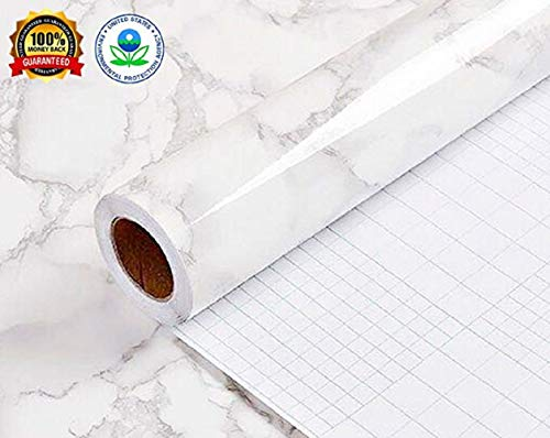 Marble Contact Paper Gloss Vinyl Film Decorative countertop Adhesive marble sticker paper Authentic Marble Look Waterproof Covering Bathroom kitchen countertop Shelf wall 11.8