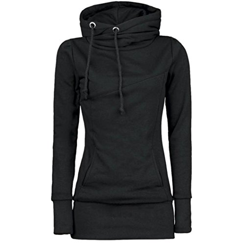 (Women Plus Size Loose Long Hoodie Solid Funnel Neck Long Sleeve Sport Sweatshirt (Black,xxxx-large))