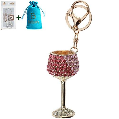 (Bolbove Red/White Wine Glasses Shape Keychain Keyring Blingbling Crystal Rhinestones Purse Pendant Handbag Charm (Pink))