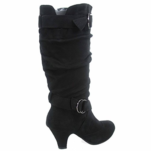 Forever Link Maggie-38 Womens Fashion Faux Suede Low Heel Zipper Slouchy Mid-Calf Boots Shoes Black 171df