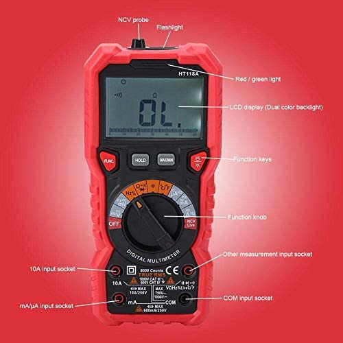 ZUQIEE Multimeter, Digital Multimeter, HT118A Handheld Digital Multimeter AC/DC Volt Amp Ohm Capacitance Hz Temp Tester w/Flashlight