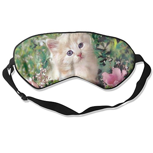 (Sleep Mask Lovely Kitty Eye Cover Blackout Eye Masks,Soothing Puffy Eyes,Dark Circles,Stress,Breathable Blindfold for Women Men)