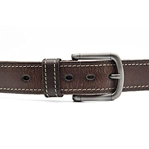 """Mens Leather Belt Top Grain Leather with Brushed Pin Buckle for Jeans 1.5"""" Wide Gift Box"""