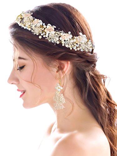 Ring Rhinestone Fashion Flower (Yean Wedding Headband with Earrings Rhinestones Crystal Flower Bridal Hair Accessories for Brides and Bridesmaids)