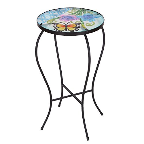 Joveco Hand Painted Multicolor Artscape Accent Glass Top Round Side Table Plant Stand (Butterfly III) (Accent Table Stand Plant)