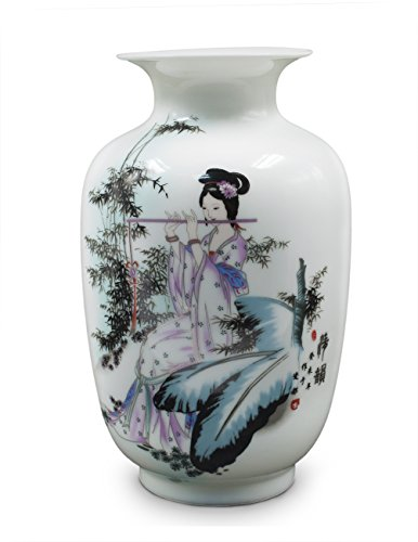 Dahlia Serene Maiden Painting Oriental Famille Rose Porcelain Flower Vase, 9 Inch Melon Shaped -